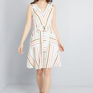 Modcloth Looking Back Striped Sleeveless Dress S